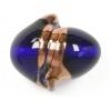 Glass Lamp Bead 24x21mm Twister Cobalt Blue/Bronze
